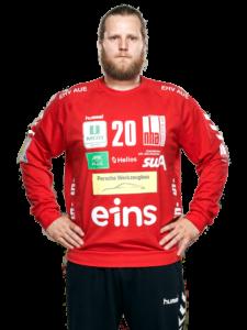 Torhüter Sveinbjörn Pétursson vom EHV Aue in der Saison 2020/21